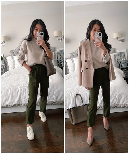 fall business casual   •BP crewneck sweater only $35 with cozy medium weight feel, wearing xxs •Loft pull on pants xxs petite •Ann Taylor blazer 00 petite •Sarah Flint perfect pump 85 sz 35.5  (Use code SARAHFLINT-JEAN50 for $50 off a first time purchase of full priced shoes)  •Everlane sneakers sz 5  •old AT tote, similar linked  #LTKworkwear #LTKSeasonal #LTKshoecrush