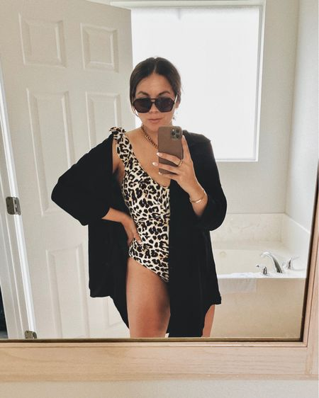 Amazon swimsuit and coverup 🖤 http://liketk.it/3j4bz #liketkit @liketoknow.it  One piece: TTS  Button down coverup: size up