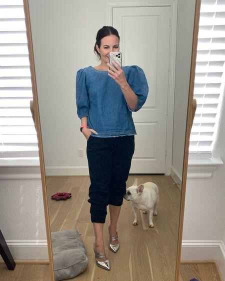 Fall outfits / girls night out / shirt sleeve denim top / chambray blouse / black joggers / silver heels    #LTKunder50 #LTKSeasonal #LTKunder100