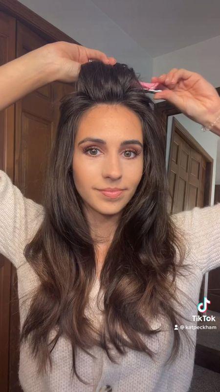 Hair rollers 90s big bouncy waves blowout hair transformation tutorial   #LTKbeauty #LTKunder50