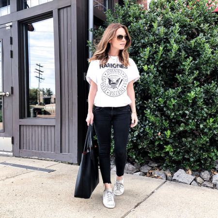 Never met a band tee I didn't like 🎸 I also found a $30 dupe for these sneakers 🙌🏼 Details in the @liketoknow.it app! http://liketk.it/2ERcd #liketkit