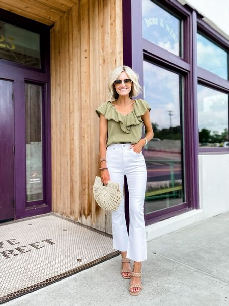 Pair white pants with a darker too for a perfect summer to fall transition look!   #LTKstyletip #LTKsalealert #LTKunder100