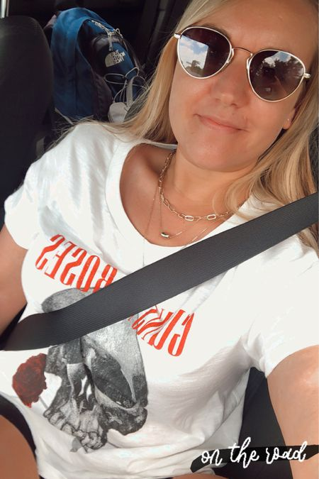 Graphic tee and black jean shorts with gold layered necklace   Black and white vans Sake print flat sandals   http://liketk.it/2S3gM #liketkit @liketoknow.it #LTKtravel #LTKunder50 #LTKshoecrush