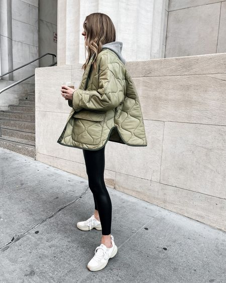 Oversized green quilted jacket, faux leather leggings, hoodie sweatshirt, dad sneakers #veja #sneakers #falloutfits   #LTKunder100 #LTKstyletip #LTKshoecrush