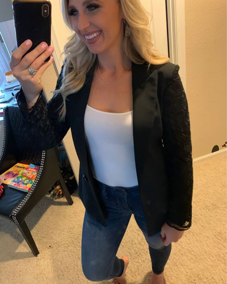 Upclose look of my lace black blazer from express. Used one necklace in my 3 pack from shein. Only $4 for 3 necklaces. Also linked my jeans and camo http://liketk.it/3e2P9 #liketkit @liketoknow.it #LTKsalealert #LTKstyletip #LTKunder50