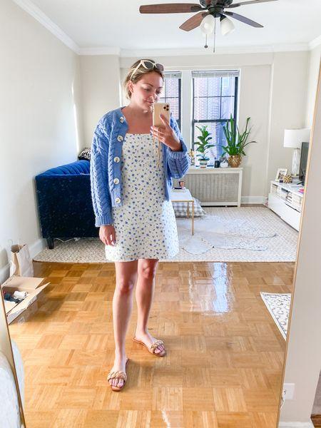 H&M Cardigan (TTS - Small) American Eagle Dress (Sized up to M for looser fit) Amazon Sandals (size 40)  #LTKshoecrush #LTKSeasonal #LTKunder50
