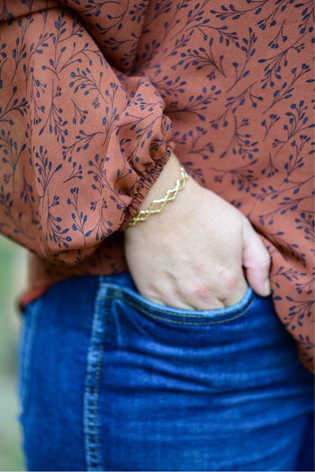 Kendra Scott Abbie cuff bracelet // jeans, tts  #LTKstyletip #LTKunder100 #LTKSeasonal