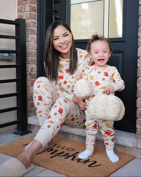 BACK IN STOCK 😍 The cutest matching pajamas for fall, sizes for everyone in the fam! hurry before they sell out 😍 im wearing size small and hailey 2T.   #LTKbacktoschool #LTKbaby #LTKSeasonal