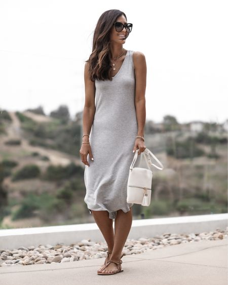 Amazon fashion, wearing size small dress, I'm just shy of 5'7 for reference, amazon dress, summer dress, beach dress, casual date night look,  handbag, amazon sandals, sunglasses, StylinbyAylin @liketoknow.it #liketkit http://liketk.it/3ia4K                   #LTKstyletip #LTKunder50 #LTKunder100
