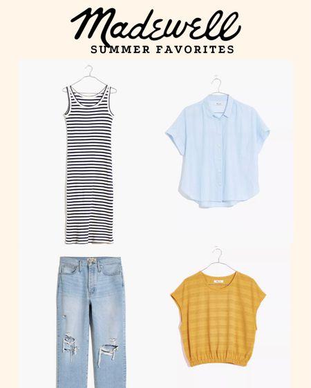 http://liketk.it/3hjfW @liketoknow.it #liketkit a few madewell summer favorites // striped rib dress // crop top // light button up // dad jean // stackable ring set #LTKDay #LTKunder100 #LTKstyletip