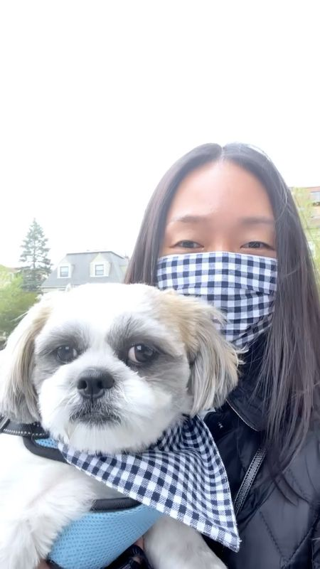 Matching in gingham for National pet day. @hi.ralphie's banadana is size small and reversible. #nationalpetday #dogmom #gingham    #LTKfamily #LTKstyletip #LTKkids