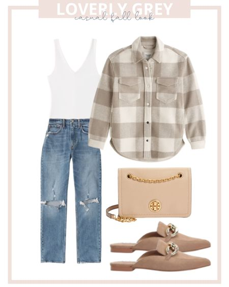 Loverly grey casual fall look: pair mom jeans with a shacket and bodysuit.   #LTKunder100 #LTKstyletip #LTKSeasonal