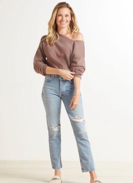 Deal of the day: soft versatile off shoulder pullover from Evereve! On sale for $68! Reg: $90  #LTKunder100 #LTKsalealert #LTKstyletip