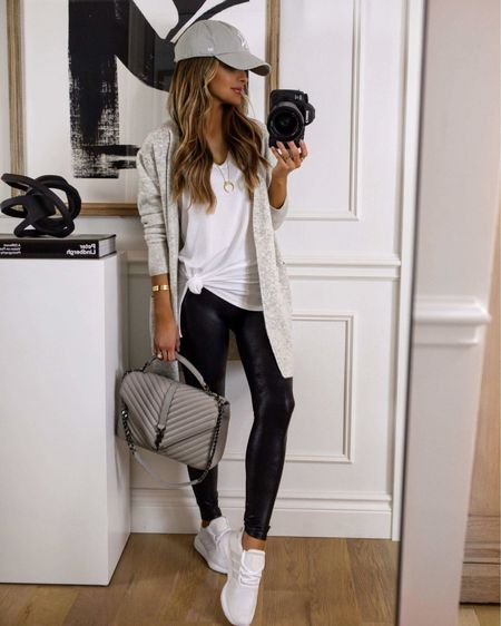 Casual fall outfit for running errands  Madewell gray cardigan  Spanx Faux Leather Leggings  Adidas sneakers Nordstrom white tee   #LTKfit #LTKsalealert #LTKshoecrush
