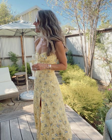 Yellow floral linen dress for summer… great for weddings, showers, or you can easily dress down with sandals. Wearing my regular size and it comes in 6 color Options, sustainably made  //   #LTKstyletip