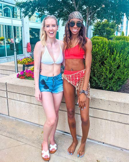 Summer swim. White triangle bikini, red one shoulder bikini, shell sarong cover up, rivet stud sunglasses, cat eye sunglasses. Summer style, beach style, beach outfit, vacation outfit, pool day. Swimsuit, swimwear, two piece. http://liketk.it/3gBFX @liketoknow.it #liketkit #LTKunder50 #LTKunder100 #LTKswim #LTKtravel