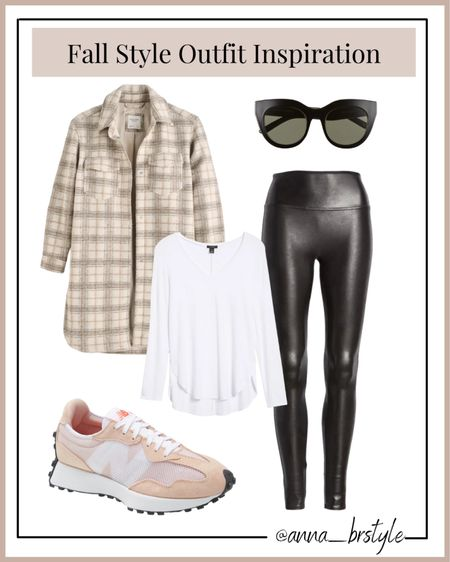 Abercrombie shacket on sale, spanx faux leather leggings #anna_brstyle