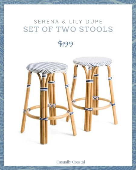 Great deal on this set of two stools - a dupe for Serena & Lily's Riviera backless stool that go for $268 each. You get two stools for less than the price of one! @liketoknow.it @liketoknow.it.home #liketkit  coastal decor, beach house decor, beach decor, beach style, coastal home, coastal home decor, coastal decorating, coastal house decor, blue and white home, blue and white decor, backless counter stools, counter stool woven, rattan counter stool, serena and lily counter stools, serena & lily counter stools, woven counter stools, TJ Maxx finds, TJ Maxx home, serena & lily dupe, serena and lily dupe, indoor outdoor stools, indoor outdoor counter stools, blue and white stools, bistro stools, bistro counter stools  #LTKfamily #LTKstyletip #LTKhome