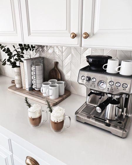 Coffee bar, espresso machine, kitchen accessories, kitchen essentials, neutral home decor, simple home decor, white kitchen, StylinAylinhome     @liketoknow.it #liketkit     http://liketk.it/3ifFG       #LTKhome #LTKunder50 #LTKunder100