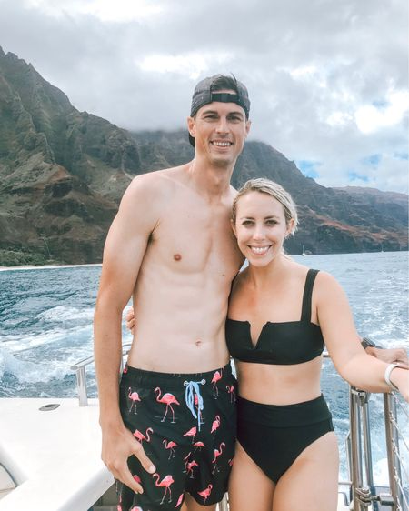 Sea sickness aside (whoops 🙋🏼♀️), booking a catamaran adventure to see the Na'Pali Coast up close and person was one of the best decisions we could have made on this trip. We saw a TON of Hawaiian spinner dolphins + I snorkeled for the first time and saw so many fishies 🐠🐟🐬 So thankful for this trip & life with you, @ohhfreddy.   http://liketk.it/2FVFt #liketkit @liketoknow.it #LTKswim #LTKunder50