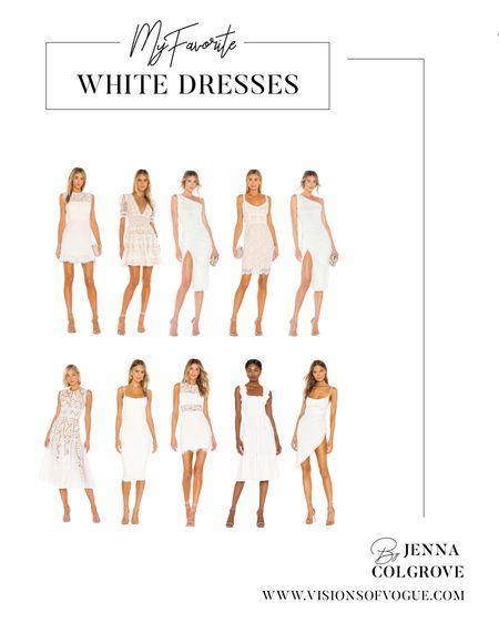 My favorite white dresses for the bride to be this summer! Bachelorette party, bridal shower, rehearsal dinner, wedding, and more! All from Revolve!   #LTKunder100 #LTKwedding #LTKsalealert