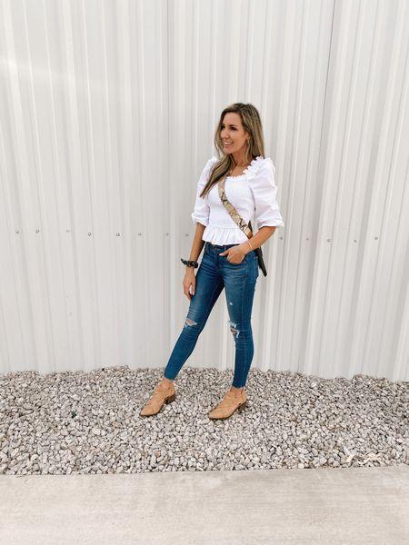 Ruffle Smocked Cropped Top Color: White/TTS/wearing a size S  #ifounditonamazon #amazonfashion #amazonfinds #outfitoftheday #ootd #outfitideas #outfitinspo #amazoncroppedtop   http://liketk.it/3pOqX @liketoknow.it #liketkit #LTKSeasonal #LTKcurves #LTKstyletip #LTKfit #LTKitbag