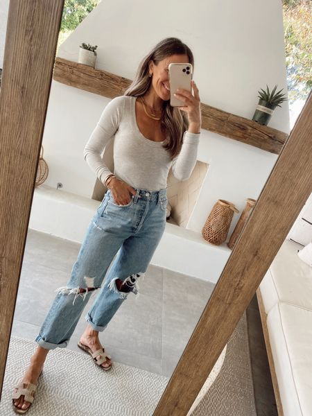 Reformation Seamless ribbed long sleeve top (sharing another option as well)  90's jeans (I recommend going down 1-2 sizes)   #LTKstyletip