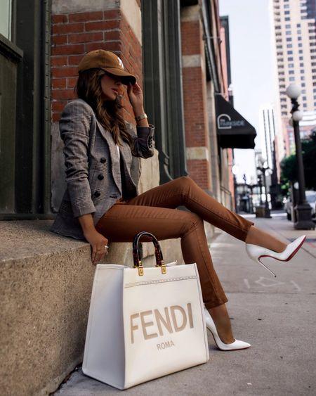 Fall outfit ideas / plaid blazer  Express plaid blazer on sale -wearing an XXS Nordstrom white tee Revolve camel coated denim Fendi sunshine tote    #LTKunder100 #LTKstyletip #LTKitbag