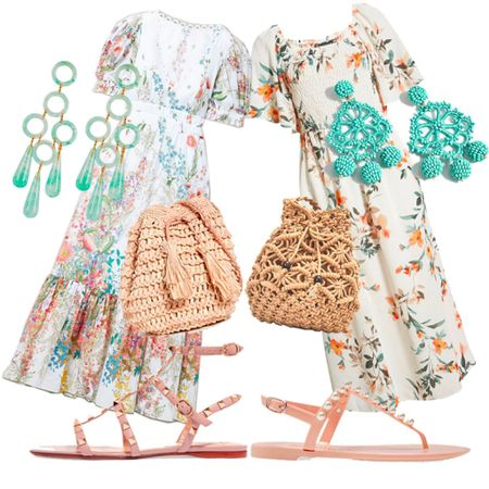 A long midi dress is perfect for any summer event. Start with a floral print summer dress, slip on a pair of embellished flat sandals, a straw mini mag and a pair of aqua  blue statement earrings. Style it with high end designer pieces or low-priced look alike fashion.   #LTKstyletip #LTKunder50 #LTKSeasonal