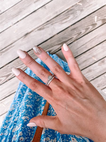 These $7 press on nails took me 5 minutes SO easy 🙌🏼 also linked my stackable rings   #LTKunder100 #LTKstyletip #LTKunder50