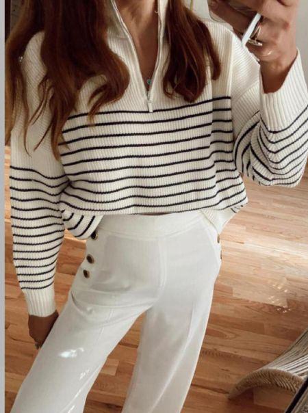 Stripe pullover small x wide leg pants   #LTKSeasonal