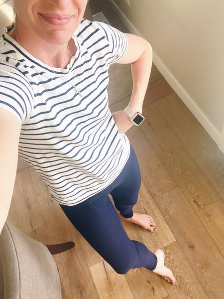 I am so in love with these J.Crew shirts! I just got this new bling to add to my watch. What do you think? Is it to blingy?  I asked my Instagram stories friends and some of them said it was too much!! Gasp!  As soon as I got home today I changed into my leggings with my T-shirt. It was time to be cozy in the house. And my husband keeps our house at a freezing 72° even though it's 100° outside! #leggings #womensleggings #leggingsoutfits #falloutfits   #LTKSeasonal #LTKfamily #LTKfit