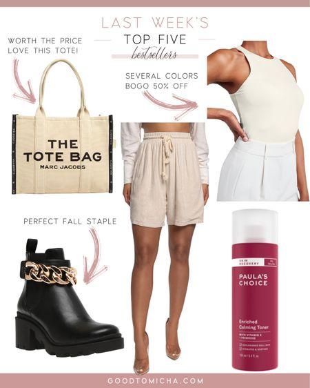 Last weeks top five - bodysuit, The Tote Bag, linen shorts, toner + booties!  #LTKshoecrush #LTKSeasonal #LTKstyletip