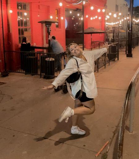 white button down, street style, bike shorts, night out   #LTKstyletip #LTKunder50