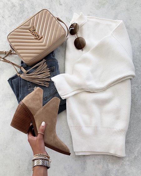Sweatshirt tunic , YSL handbag, booties, sunglasses, denim jeans #StylinbyAylin  #LTKstyletip #LTKshoecrush #LTKitbag