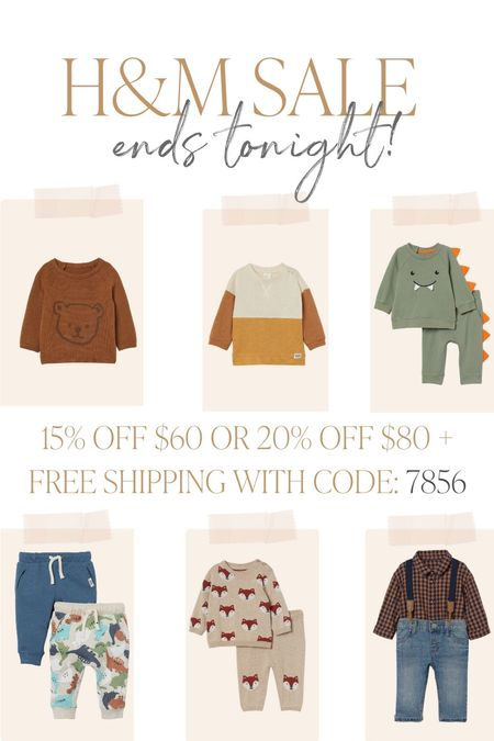 H&M Baby sale, ends tonight! 9/26. 15% off $60 or 20% off $80 and free shipping with code 7856  #LTKfit #LTKunder50 #LTKbaby