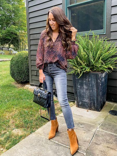 Leopard. Fall blouse. Grey denim. Fall fashion. Leopard blouse. Evereve. Blouse XS. Jeans TTS. Booties TTS.