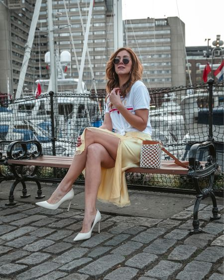 Yellow silk skirt with lace and bucket back #springoutfit http://liketk.it/2BvSJ #liketkit @liketoknow.it @liketoknow.it.europe