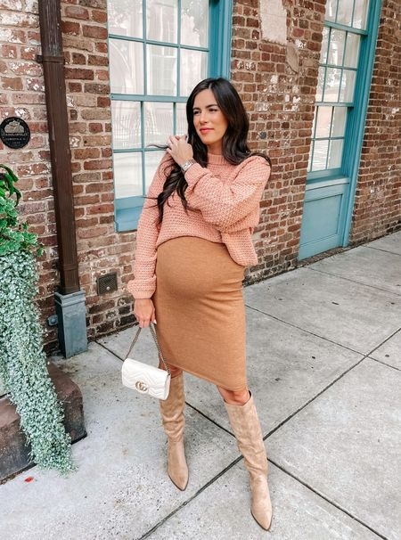 Fall outfit maternity outfit target sweater midi skirt knee high boots   #LTKbump #LTKstyletip #LTKunder100