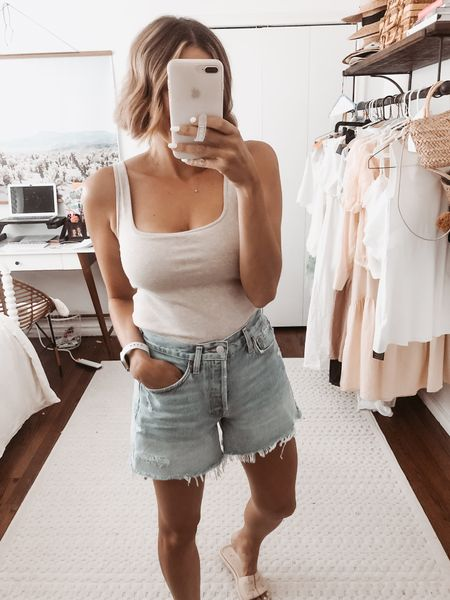This tank has a built in bra and is only $30! Fits TTS.   #LTKstyletip #LTKunder100 #LTKunder50