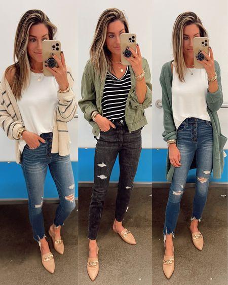Great fall staples from Old Navy. Wearing size xs.  Cardigan, green jacket, jeans.  Code JEN15 on these mules.     http://liketk.it/3jL9G @liketoknow.it #liketkit #LTKworkwear #LTKunder50 #LTKshoecrush