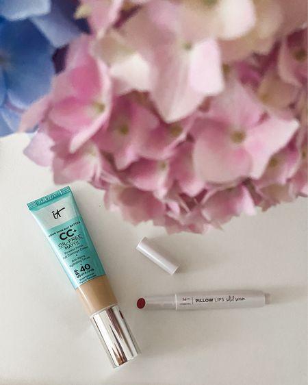 It cosmetics CC cream (I like the oil free matte version) and Pillow lips Solid Serum (shade 11:11)  Beauty   makeup   cc cream   foundation   spf   lipstick   lipgloss   it cosmetics   #LTKDay #LTKbeauty #LTKsalealert