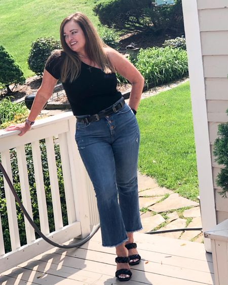 Keeping it simple.. crop flare button fly jeans and a black bodysuit ( I have it caramel too) add a western double buckle belt and braided sandals. Simple but sophisticated.  Joining my fabulous friends for #FashionFriday   @melaniespickett @deborahsorlie @roomtoveuve @lynnettiu @seechele_styles @jaxvegancouple @overfiftyandblessed @joyousstyling @distinctlysouthernstyle @gwenliveswell @mymidlifestylist @brigittemarieforet @robinlamonte @seechele_styles  @fashionablyfifty     Do you love the cropped pants look? . . . . . . http://liketk.it/3evTd #LTKcurves #LTKshoecrush #liketkit @liketoknow.it.family @liketoknow.it Download the LIKEtoKNOW.it shopping app to shop this pic via screenshot