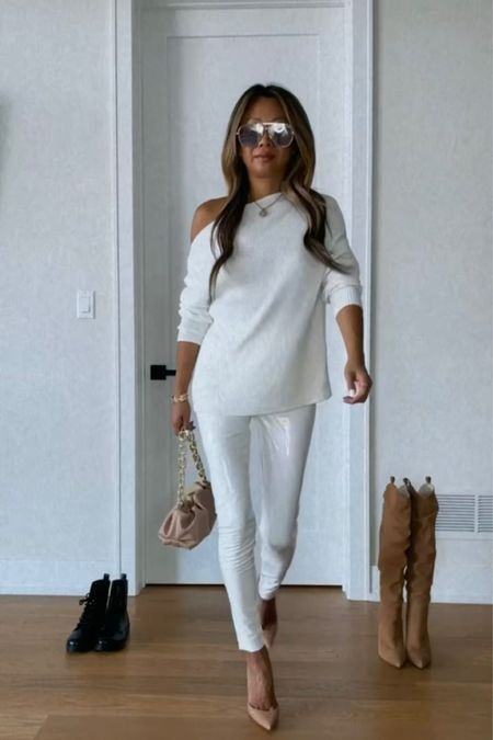 Fall white outfit, commando patent leggings, fall outfit   #LTKstyletip #LTKunder100