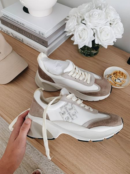 Brown Tory Burch sneakers. Go up a full sIze   #LTKshoecrush