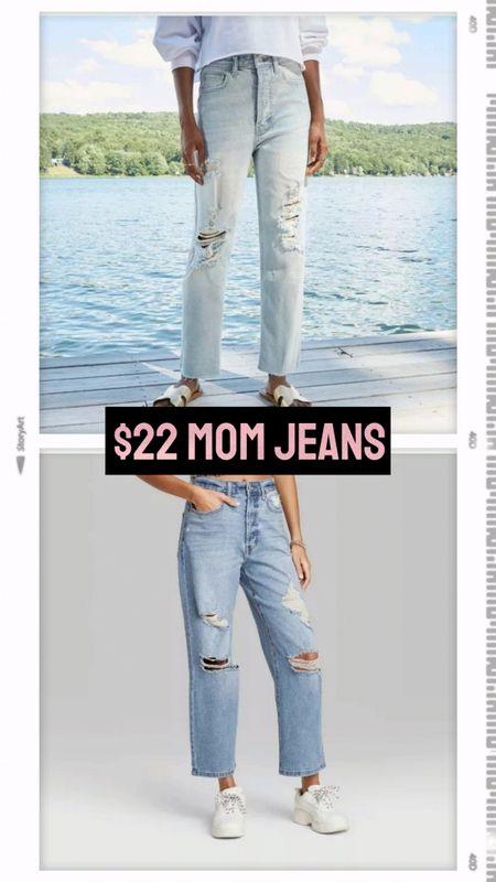 $22 mom jeans at Target! Wild Fable. Straight leg distressed light wash denim jeans. Loose fit bottom, waist fits TTS. http://liketk.it/3iBAq @liketoknow.it #liketkit #LTKstyletip #LTKunder50 #LTKunder100