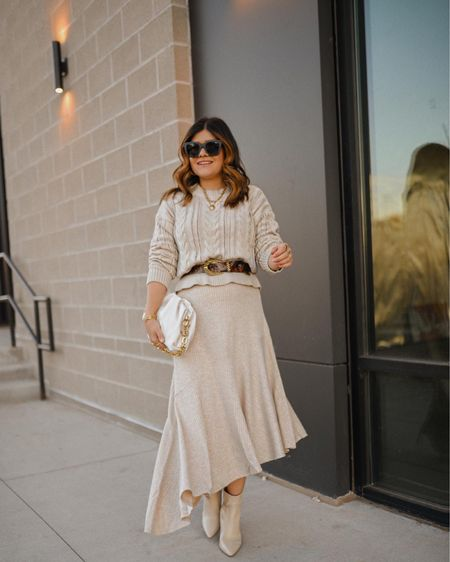 The perfect neutral look upgraded with the right accessories! #ad Both the sweater and skirt run tts and are under $40! @walmart @walmartfashion   #LTKHoliday #LTKunder50 #LTKSeasonal