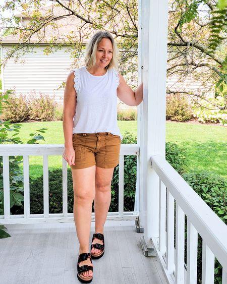 Casual summer everyday mom outfit featuring a white sleeveless crochet tee, caramel utility shorts, and Tortoise platform slides #summer #mom #Tortoise #platforms #platformslides #casual #crochet #utility #shorts #neutrals http://liketk.it/3lDnj @liketoknow.it #liketkit