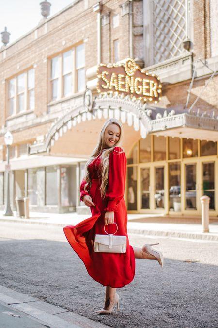 Red long sleeve maxi dress with gold handbag and earrings. Red lipstick    http://liketk.it/2IkEK #liketkit @liketoknow.it #LTKshoecrush #LTKunder50 #LTKholidaystyle