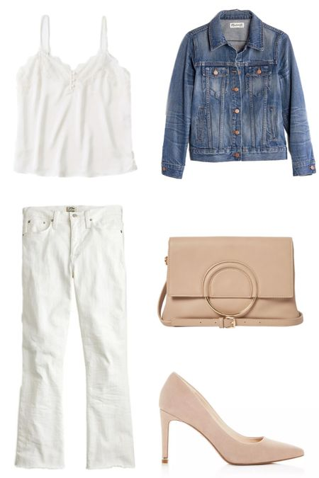 Spring Capsule Closet 2020 // Neutral spring outfit idea, timeless spring essentials, neutral spring look http://liketk.it/2KiTK #liketkit @liketoknow.it #LTKspring #LTKstyletip jean jacket under $150, chloe bag dupe, lace white cami, raw hem white jeans